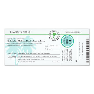 Thailand Boarding Pass Wedding  Invitation