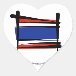 Thailand Brush Flag Heart Sticker
