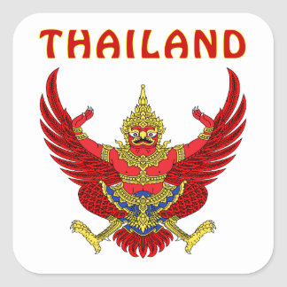 Thailand Coat Of Arms Square Sticker