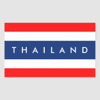 Thailand country flag nation symbol name text rectangular sticker