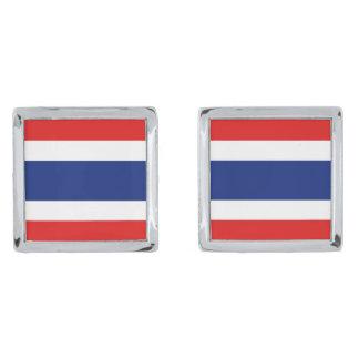Thailand Flag Cufflinks Silver Finish Cuff Links