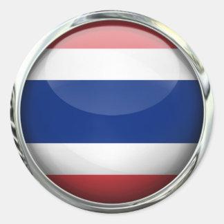 Thailand Flag Glass Ball Classic Round Sticker