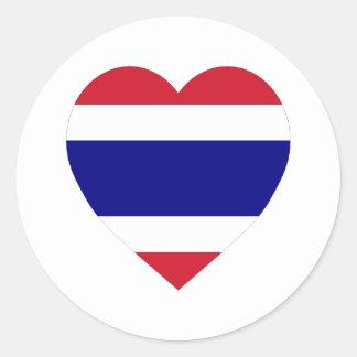 Thailand Flag Heart Round Sticker