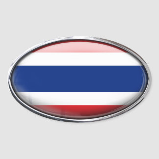 Thailand Flag in Glass Oval (pack of 4) Stickers