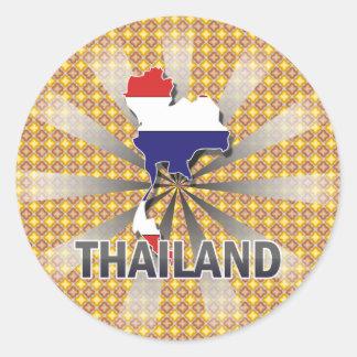 Thailand Flag Map 2.0 Classic Round Sticker