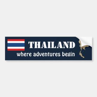 Thailand Flag + Map Bumper Sticker