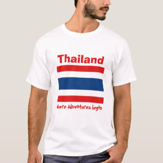 Thailand Flag + Map + Text T-Shirt