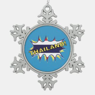 Thailand flag POW star burst Snowflake Pewter Christmas Ornament