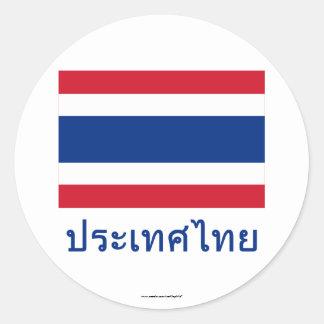 Thailand Flag with Name in Thai Round Sticker