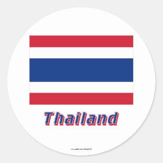 Thailand Flag with Name Round Sticker