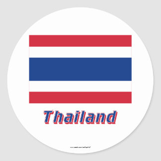 Thailand Flag with Name Round Stickers
