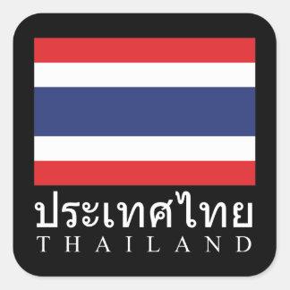 Thailand Flag With Thailand Word In Thai Language Square Sticker