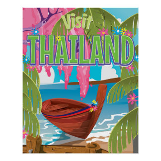 Thailand fun vintage travel poster