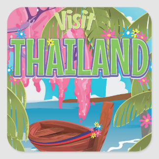 Thailand fun vintage travel poster square sticker