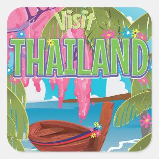 Thailand fun vintage travel poster square sticker