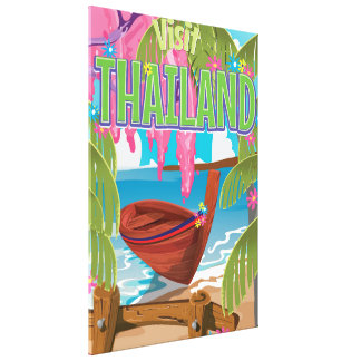 Thailand fun vintage travel poster stretched canvas print