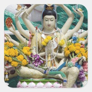 Thailand, Ko Samui aka Koh Samui). Wat Plai 2 Square Sticker
