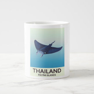 Thailand Phi Phi Islands Travel poster Large Coffee Mug