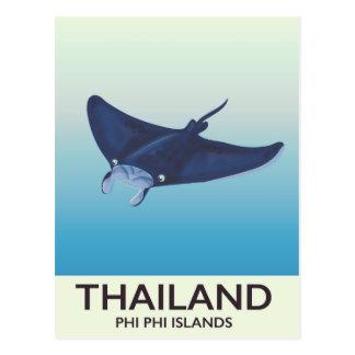 Thailand Phi Phi Islands Travel poster Postcard
