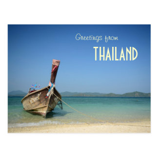 thailand traditional long transportation boat postcard