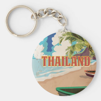 Thailand Vintage Travel Poster Key Ring