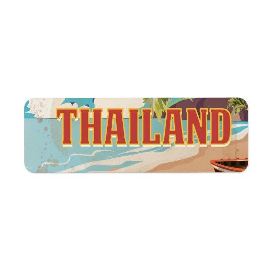 Thailand Vintage Travel Poster Return Address Label