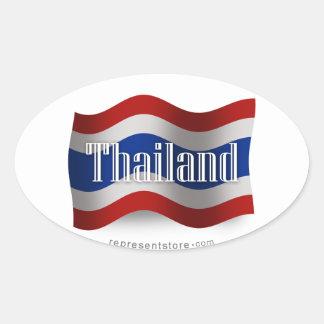Thailand Waving Flag Oval Sticker