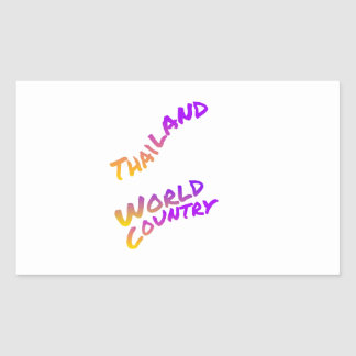 Thailand world country, colorful text art rectangular sticker