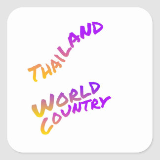 Thailand world country, colorful text art square sticker