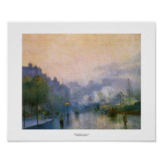 Thames Port Lesser Ury impressionist painting art Poster