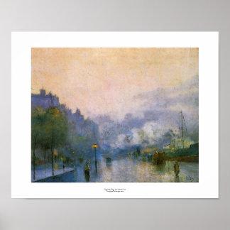 Thames Port Lesser Ury impressionist painting art Poster