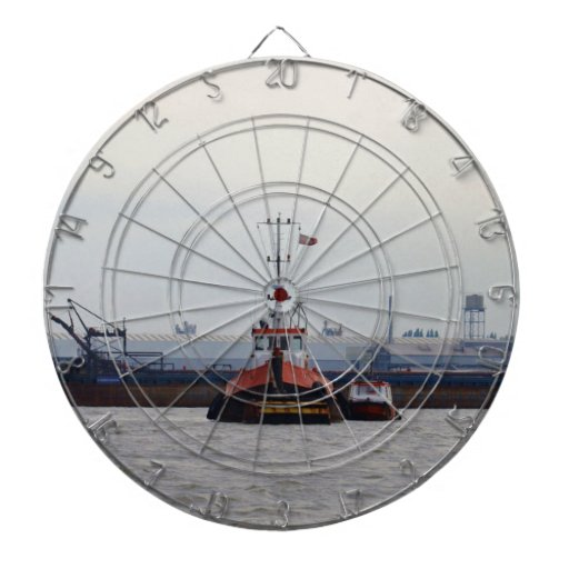Thames Tug And Motorboat Dartboard With Darts