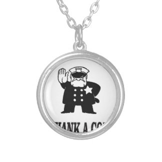 thank a cop silver plated necklace
