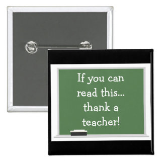 Thank a teacher-button 15 cm square badge