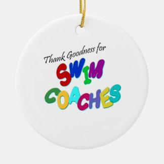 Thank Goodness for Swim Coaches Ceramic Ornament