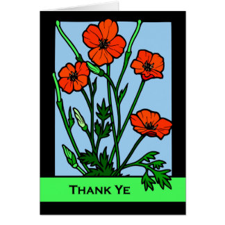 Thank Ye, Thank You Blank Card in Scots, Poppies