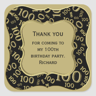 Thank you - 100th Birthday Black and Gold Party Square Sticker