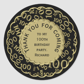 Thank You 100th Birthday Black and Gold Theme Classic Round Sticker
