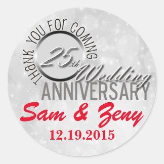 Thank You 25th Wedding Anniversary Favor Sticker