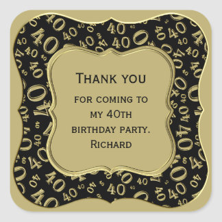 Thank you - 40th Birthday Black and Gold Party Square Sticker