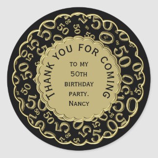 Thank You 50th Birthday Black and Gold Theme Classic Round Sticker
