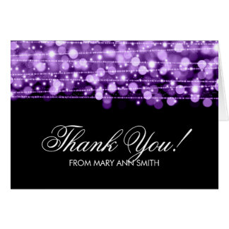 """""""Thank you"""" 60th Birthday Party Sparkles Purple Greeting Card"""