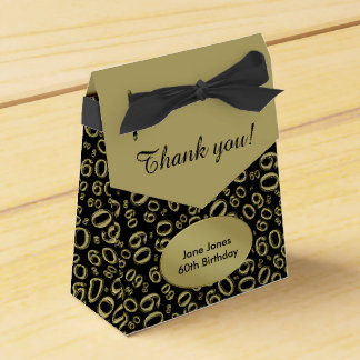 Thank You: 60th Birthday Theme Gold/Black Favour Box