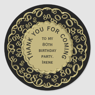 Thank You 80th Birthday Black and Gold Theme Classic Round Sticker