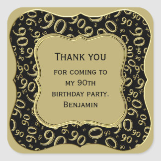 Thank you - 90th Birthday Black and Gold Party Square Sticker