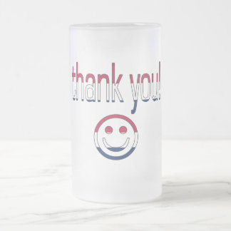 Thank You! America Flag Colors 16 Oz Frosted Glass Beer Mug