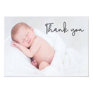 Thank You and Baby Birth Announcement, handletter Card