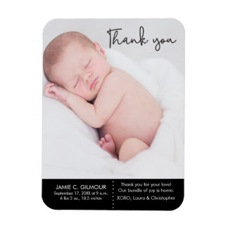 Thank You and Baby Birth Announcement, Script text Magnet