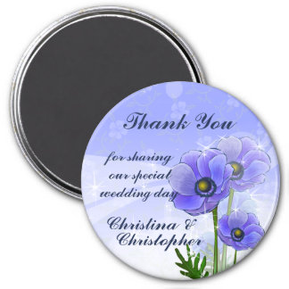 Thank you Anemone Wedding guest bombonier 7.5 Cm Round Magnet