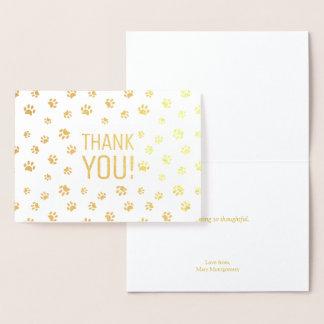 Thank You | Animal Paw Prints Gold Foil Card